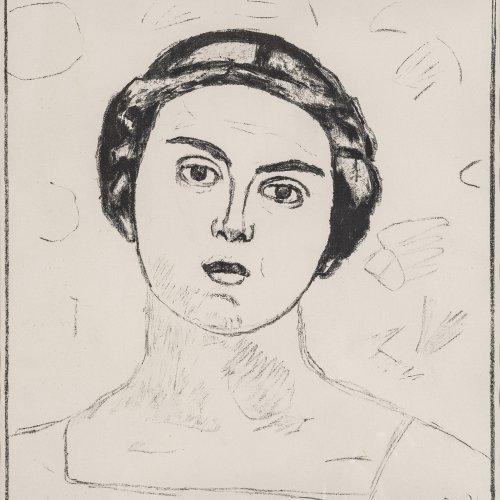 Hodler, Ferdinand, Mädchenkopf en face, Lithographie.