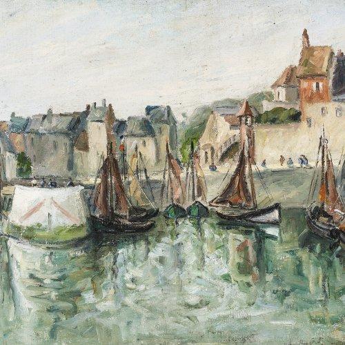 Le Pesqueux, Henriette, Impressionistische Hafenansicht. Öl/Rupfen. 54 x 73,3 cm.