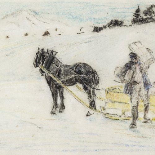 Geffcken, Walter, Postschlitten im Winter, Zeichnung.