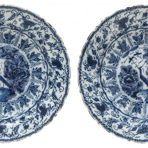 Teller, 2 Teile, Delft, Blaumalerei