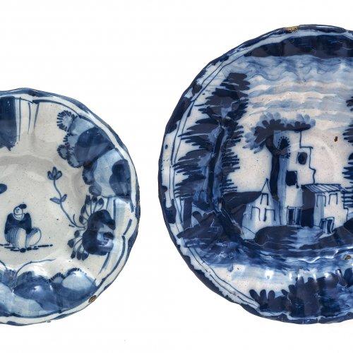 Teller, 2 Teile, Fayence, Blaumalerei