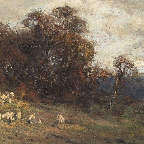 Splitgerber, August. Schäfer mit Herde in weiter Herbstlandschaft. Öl/Holz. 9,7 x 23,4 cm. Sign.