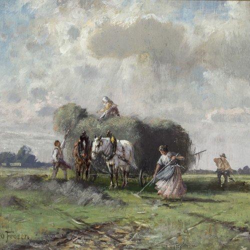 Fedder, Otto. Heuernte. Öl/Holz. 16 x 17,5 cm. Sign.