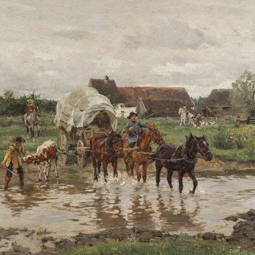 Velten, Wilhelm von. Planwagen mit Soldaten überqueren einen Bach. Öl/Holz. 24,5 x 33 cm. Sign.