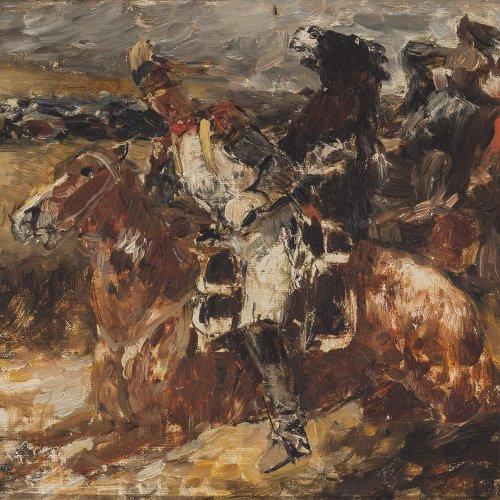 Faber du Faur, Otto von. Berittene Soldaten. Öl/Karton. 26 x 36 cm. Sign.
