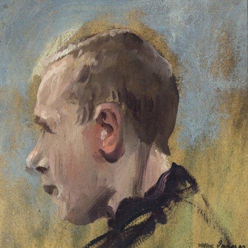 Gaisser, Max. Halbporträt eines Jungen. Öl/Karton. 20 x 19 cm. Sign., rücks. Nachlassstempel.