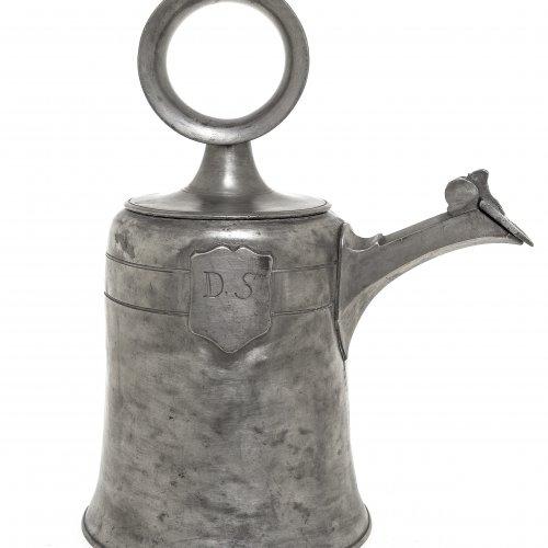 Glockenkanne. Zinn. Schweiz 18. Jh. Gemarkt. H. 27 cm.