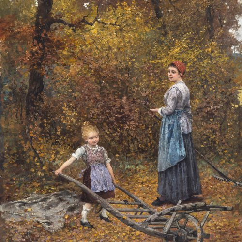 Ritter, Caspar. Mutter mit Kind im Herbstwald. Öl/Lw. 69,5 x 57,5 cm. Sign., dat. 1893 bez.: Karlsruhe.