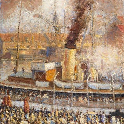 Jastrau, Viggo. Hafenszene mit Passagierdampfer. Öl/Lw. 71 x 55 cm. Sign., dat. 1933.