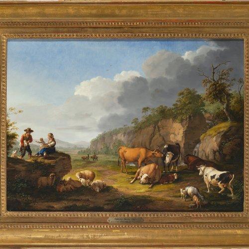 Pforr, Johann Georg. Hirten mit ihren Tieren auf der Weide vor weiter Landschaft. Öl/Holz. 42,5 x 58. Rest., sign.