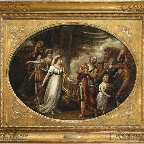 Weitsch, Friedrich Georg, zugeschrieben. Jephta begegnet seiner Tochter. Öl/Metall. 48 x 64 cm. Rest., unsign.