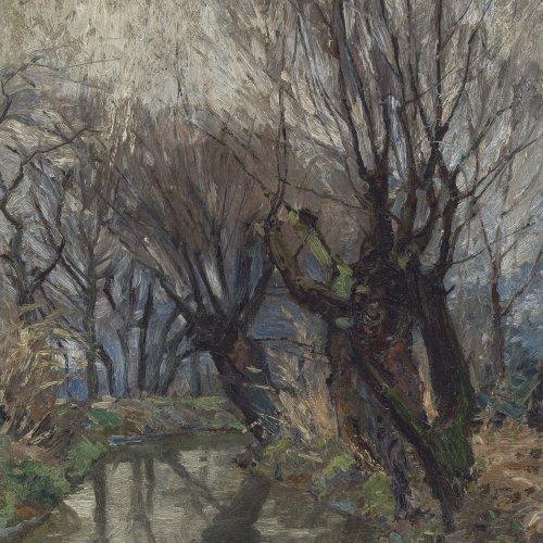 Kukuk, Willy. Kopfweiden an einem Bachlauf. Öl/Lw. 59 x 44 cm. Sign.