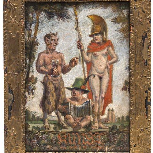 Fuchs, G., Humoristische Darstellung, Öl/Spanplatte.