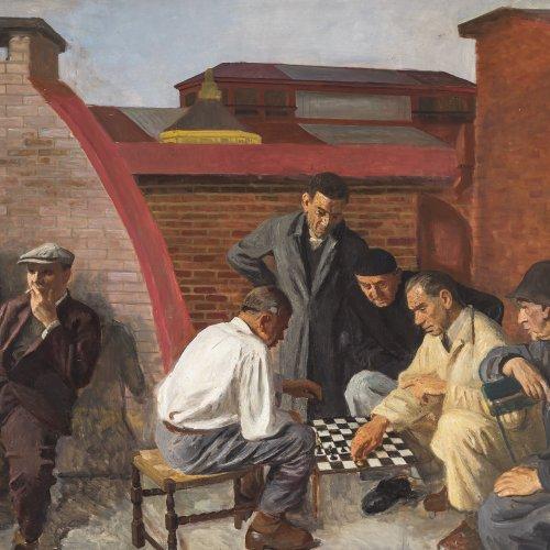 Multrus, Josef, zugeschrieben, Arbeiter beim Schachspiel, Öl/Lw.