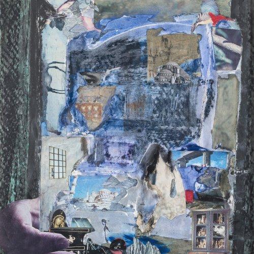 Deutsch, 20. Jh. Collage mit Rennwagen, 64 x 49 cm.
