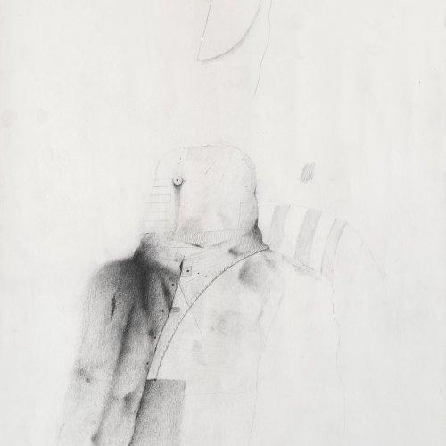 Korab, Karl. Maskierter. Bleistiftzeichnung. 46,5 x 35 cm. Sign., dat. 72.