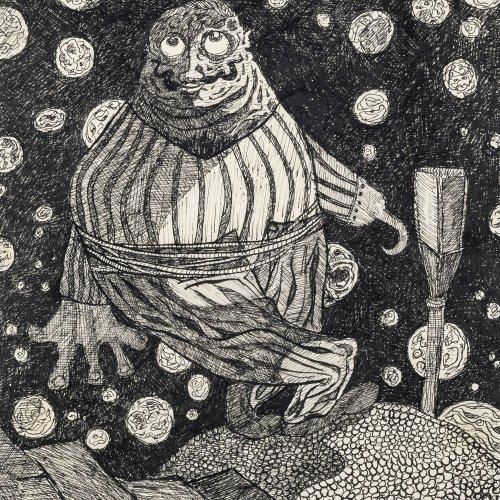 Dürrenmatt, Friedrich. Seemann mit Schnurrbart. Tuschzeichnung. 29 x 20 cm. Monogr.