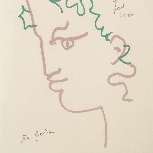 Cocteau, Jean, Kopf eines Fauns, Farblithographie.
