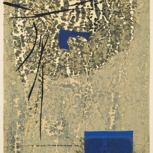 Takagi, Shiro, Abstrakte Komposition, Farbholzschnitt.