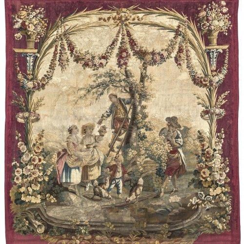 Tapisserie: Watteau-Szene mit Kirschenernte