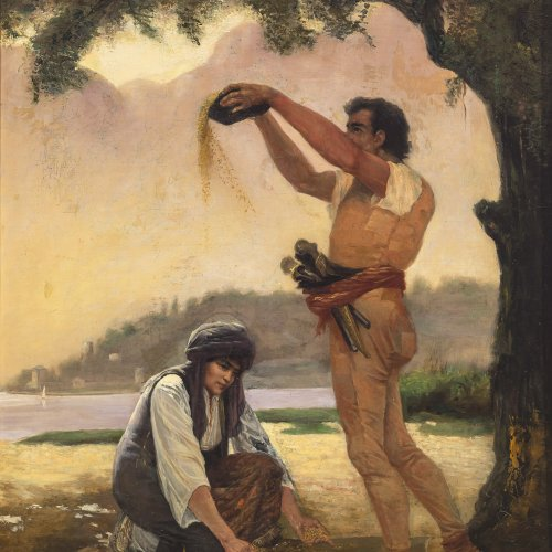 Novo, Stefano, Bei der Feldarbeit, Öl/Lw. 61 x 50 cm, sign.