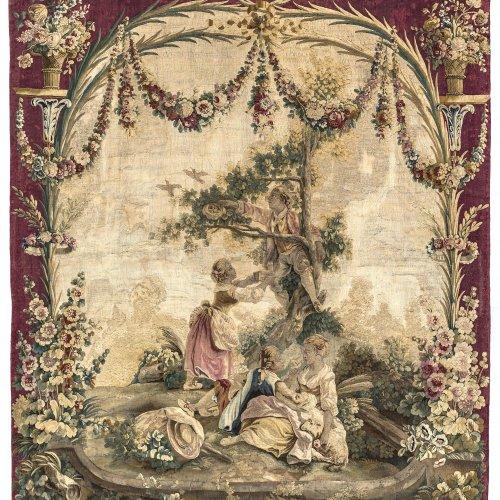 Tapisserie: Watteau-Szene mit Vogelnest