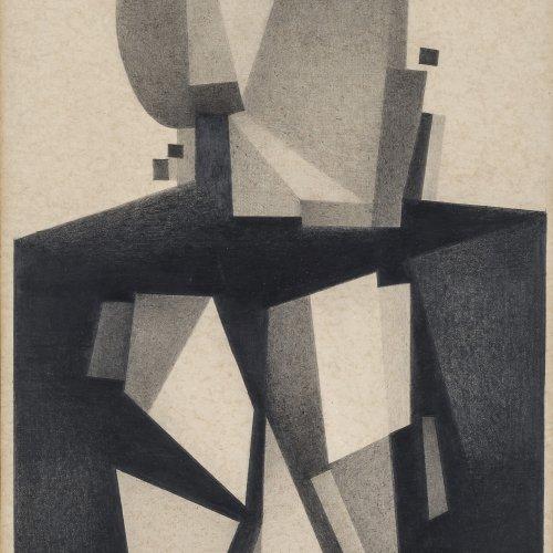 Schiffers, Arno, Kubistische Komposition. Bleistiftzeichnung, 44 x 26 cm.