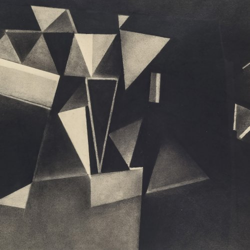 Schiffers, Arno, Kubistische Komposition, Bleistiftzeichnung, 59,5 x 30 cm. Unsign.