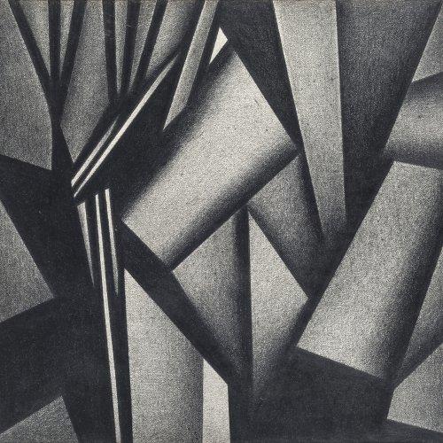 Schiffers, Arno, Kubistische Komposition, Bleistiftzeichnung, 19 x 20,5 cm