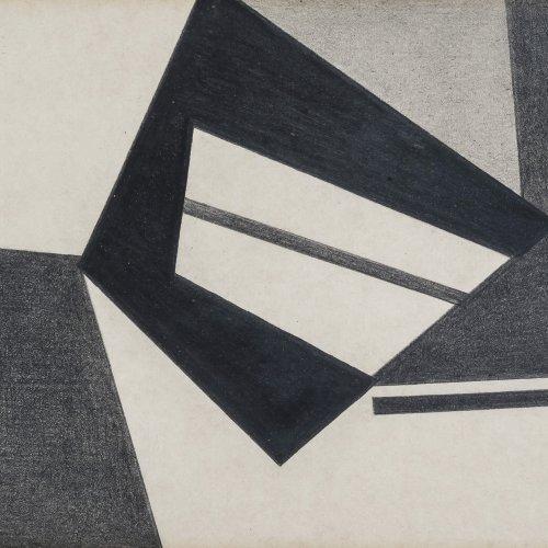 Schiffers, Arno, Abstrakte Kompositiobn, Bleistiftzeichung, 16 x 11,5 cm.