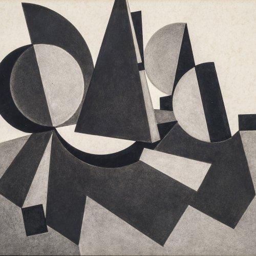 Schiffers, Arno, Abstrakte Komposition, Bleistiftzeichnung, 20,5 x 22 cm.