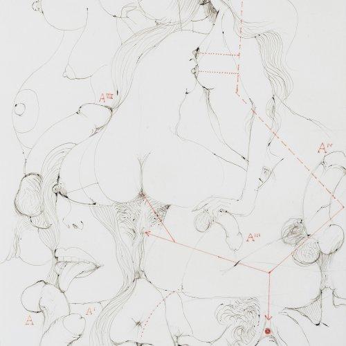 Ungerer, Tomi, Erotische Komposition, Federzeichnung.