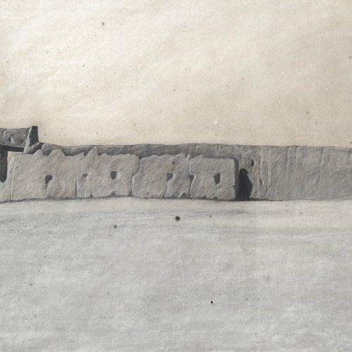 Angeli, Eduard, Mauer, Mischtechnik, 61 x 87 cm.