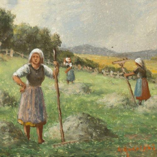 Rudolphi, Johannes, Heuernte, Öl/Karton, 10 x 14,5 cm.