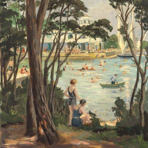 Guttenberg, Rosa von, Badevergnügen auf der Insel Brioni, Öl/Karton,59,5 x 44 cm.