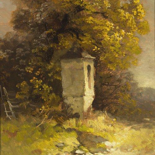 Mulley, Kapelle, Öl/Karton, 31 x 27,5 cm.