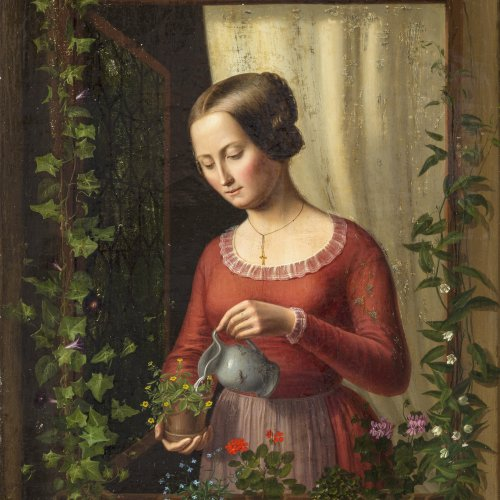 Schneider, Anton, Mädchen am Fenster, Öl/Lw.