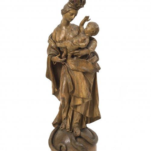 Madonna mit Kind auf Weltkugel, Werkstatt Johann von der Auwera
