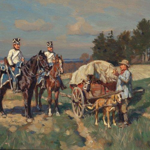 Velten, Wilhelm von. Soldaten zu Pferd kontrollieren einen Landstreicher. Öl/Holz. 15 x 23,5 cm. Sign.