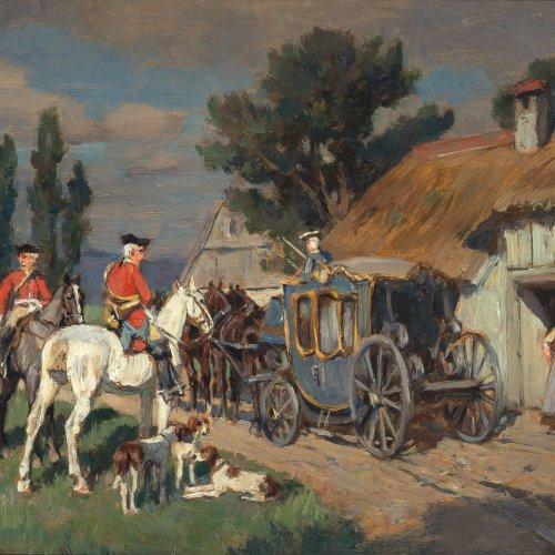 Velten, Wilhelm von. Höfische Jagdgesellschaft mit Kutsche vor einem Bauernhaus. Öl/Holz. 15 x 23,5 cm. Sign.