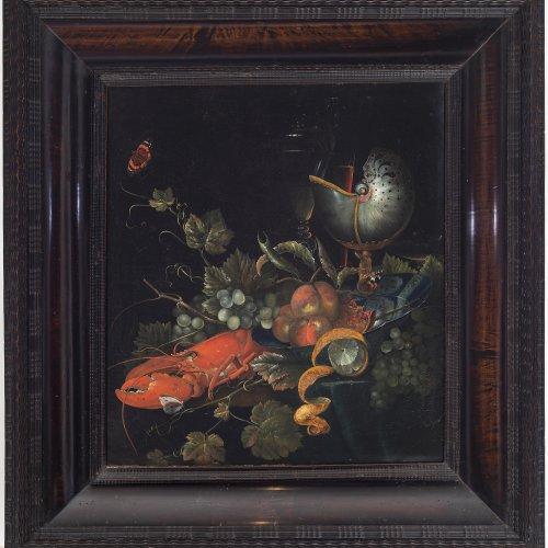 Elliger, d.J., Ottmar, zugeschrieben. Früchtestillleben mit Hummer, Zitrone und Nautilluspokal. Öl/Lw. 64 x 57 cm. Doubl., rest., unsign.