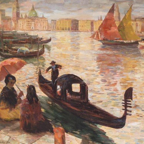 Fessler, Albert, Gondel vor Venedig. Öl, 99 x 116 cm.
