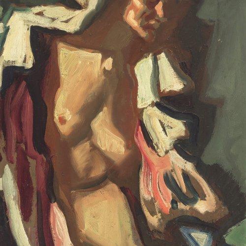 Habermann, Hugo von, Mädchenhalbakt, Öl/Karton. 70 x 40 cm. Sign.