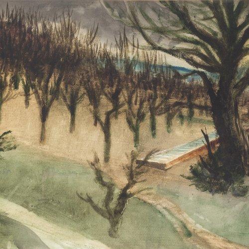 Szönyi, István, Bäume im Herbst, Aquarell.