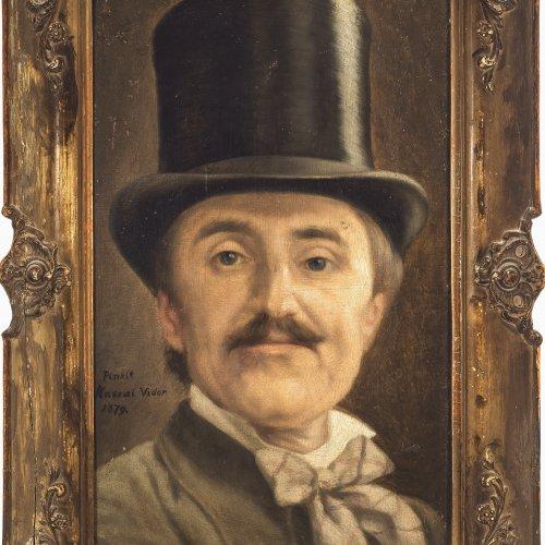 Kassai, Vidor, Herr mit Zylinder, Öl/Karton. 43 x 27 cm.