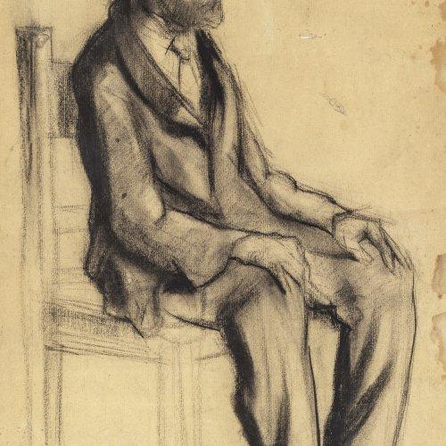 Glatz, Oskar, zugeschrieben, Sitzender Mann mit Hut, Kohlezeichnung.