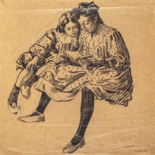 Székely, Bertalan, Zwei Mädchen, Tuschpinselzeichnung.