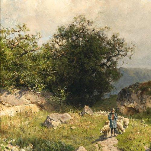 Splitgerber, August. Schäfer mit seiner Herde in bergiger Sommerlandschaft. Öl/Lw. 40,5 x 30,5 cm. Sign.