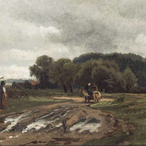 Weber, Paul. Feldweg bei bewölktem Sommerhimmel. Öl auf Karton. 16,5 x 25,6 cm. Monogr., dat. 1881.