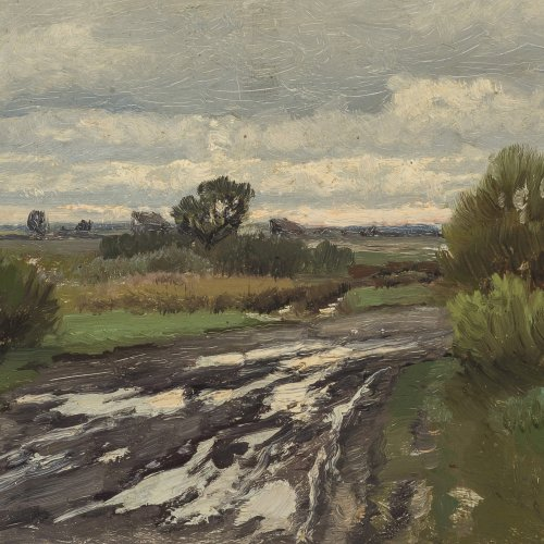 Weber, Paul. Windgelüftete Spätsommerlandschaft. Öl/Karton. 16,5 x 25,5 cm. Sign. Rücks. Nachlassstempel und Nr. 322*.